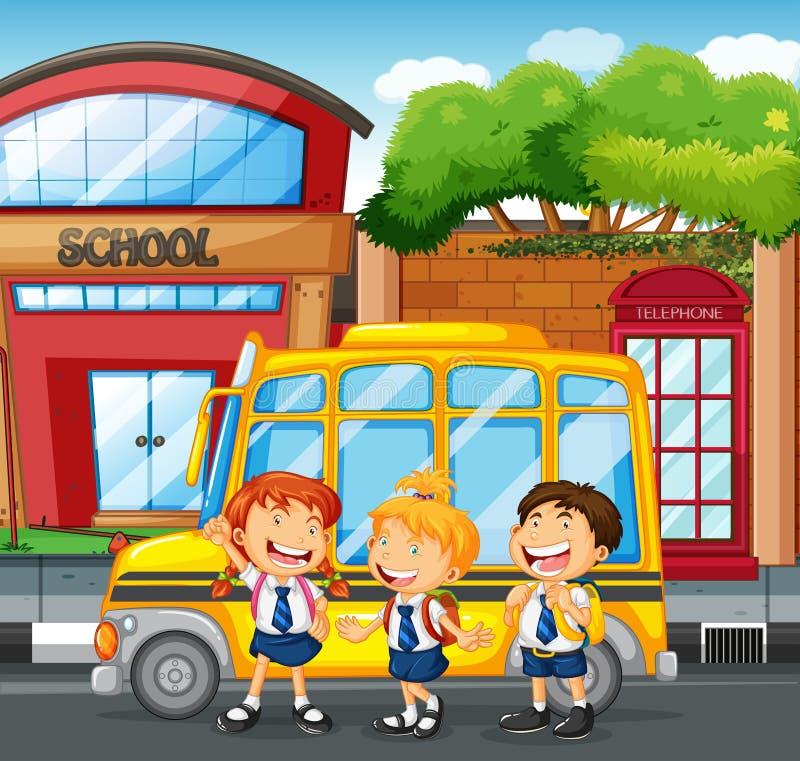 Estudantes e ônibus escolar na escola ilustração do vetor