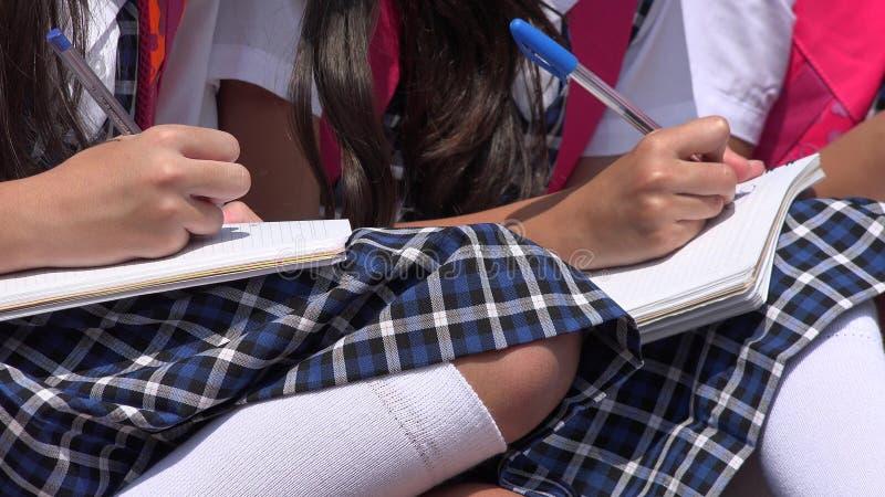 Estudantes fêmeas diversos que escrevem fardas da escola vestindo fotos de stock