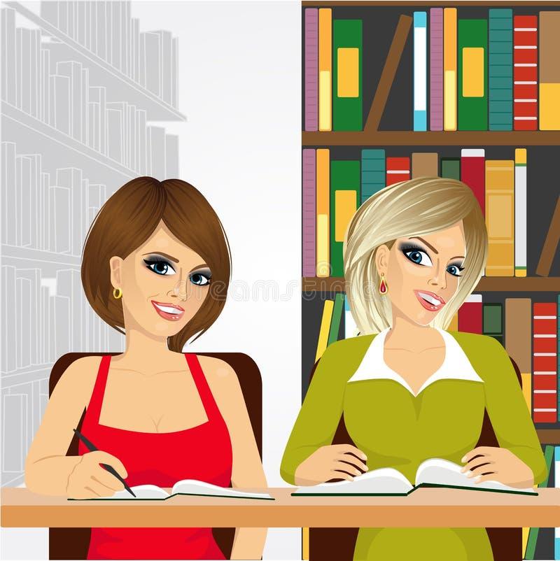 Estudantes fêmeas na biblioteca de faculdade ilustração royalty free