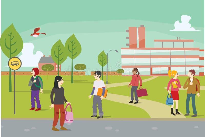 Estudantes fora no terreno da faculdade imagens de stock