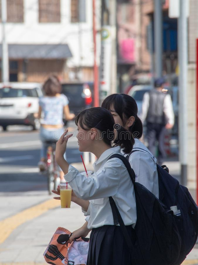 Estudantes japonesas em Hiroshima imagem de stock