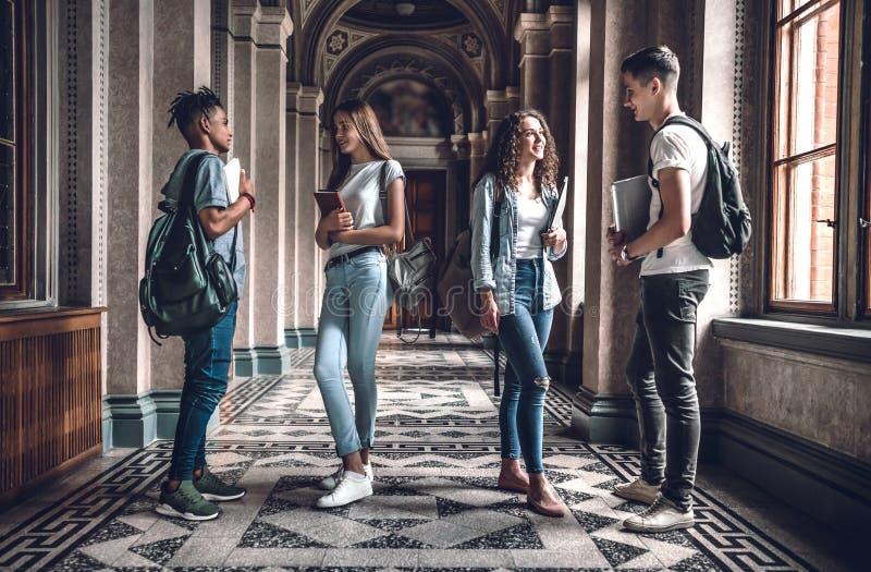 Estudantes junto Grupo de estudantes bonitos que estão no salão da universidade e que conversam um com o otro fotos de stock