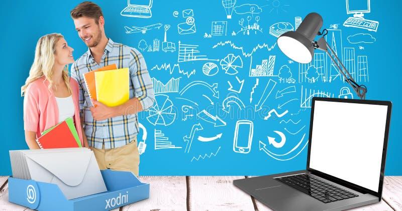 Estudantes masculinos e fêmeas que mantêm livros com o portátil na mesa contra gráficos ilustração royalty free
