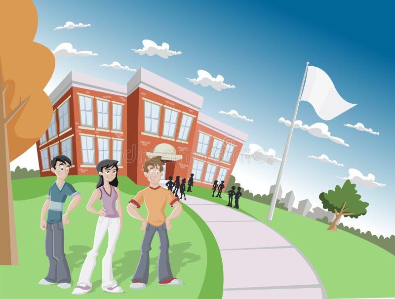 Estudantes na escola ilustração do vetor