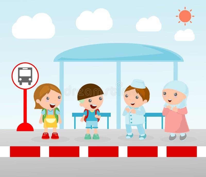 Estudantes na parada do ônibus, ilustração do vetor de A das crianças pequenas que esperam em uma parada do ônibus, esperando na  ilustração stock