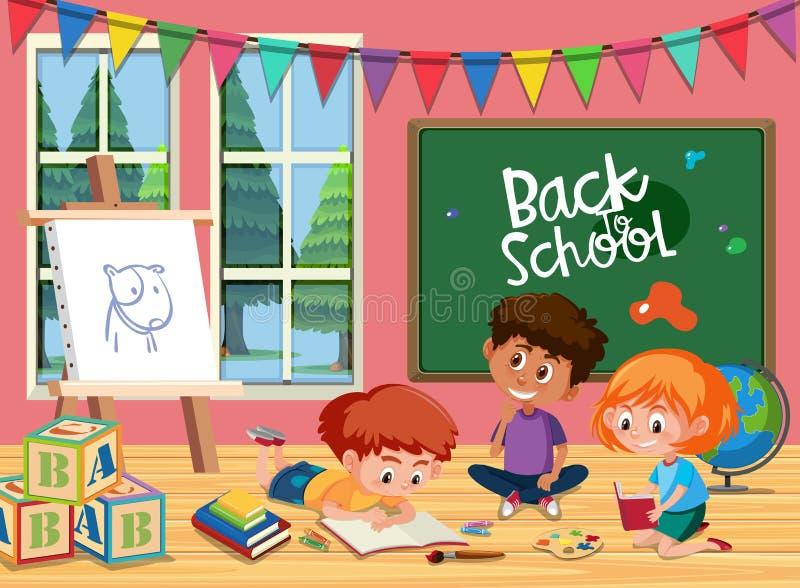 Estudantes na sala de aula ilustração stock