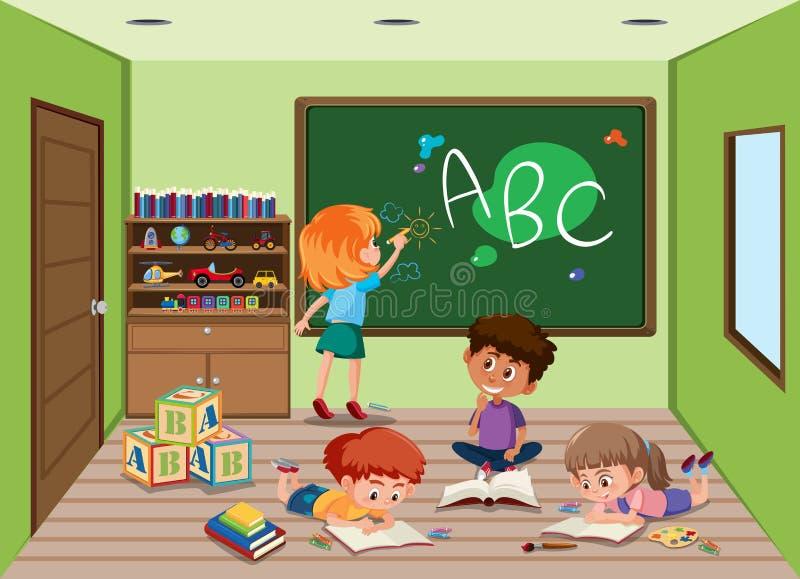 Estudantes na sala de aula ilustração do vetor