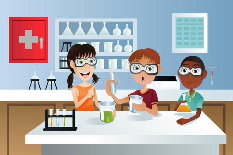 Estudantes no projeto da ciência ilustração do vetor