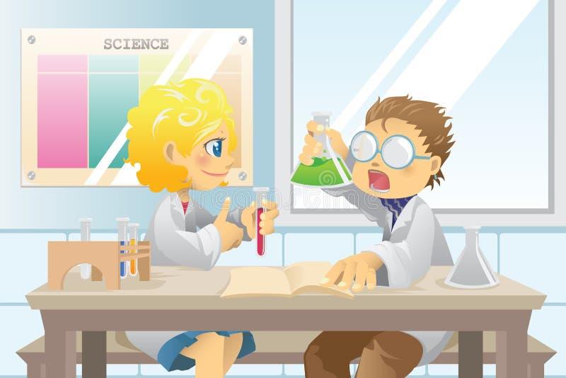 Estudantes no projeto da ciência ilustração royalty free