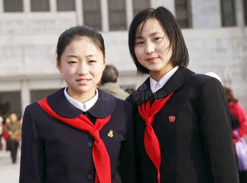 Estudantes norte-coreanas foto de stock royalty free