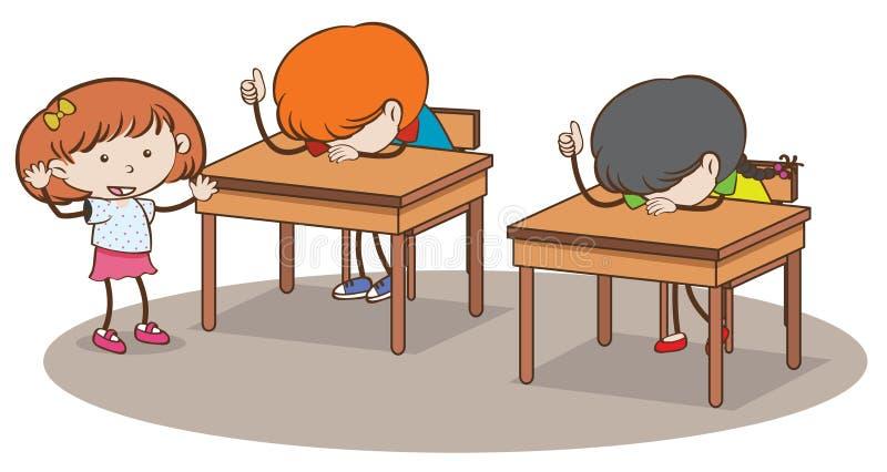 Estudantes novos da garatuja na sala de aula ilustração stock