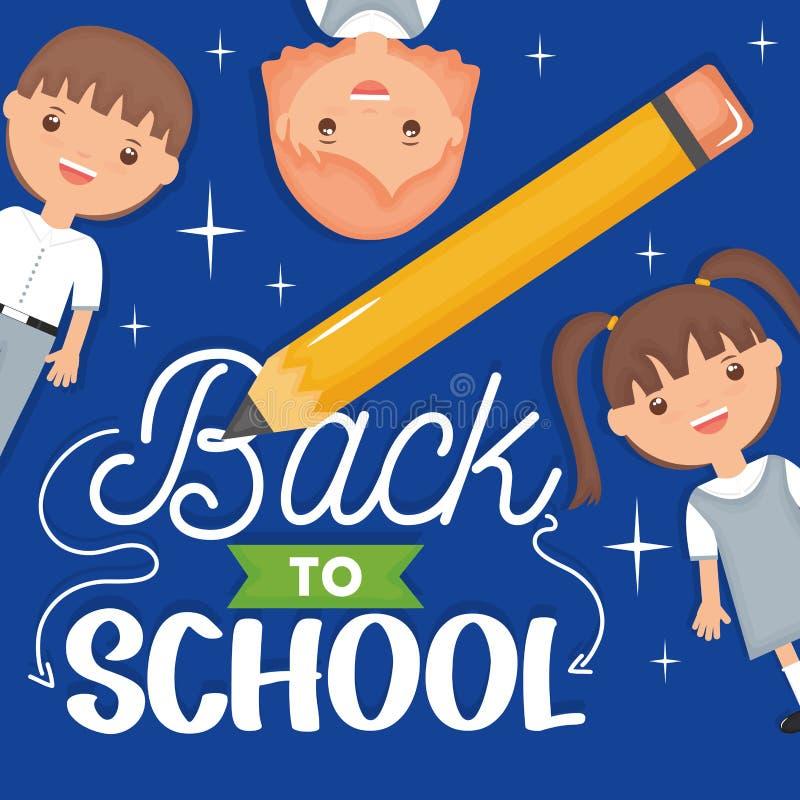 Estudantes pequenos bonitos com lápis e fonte ilustração do vetor