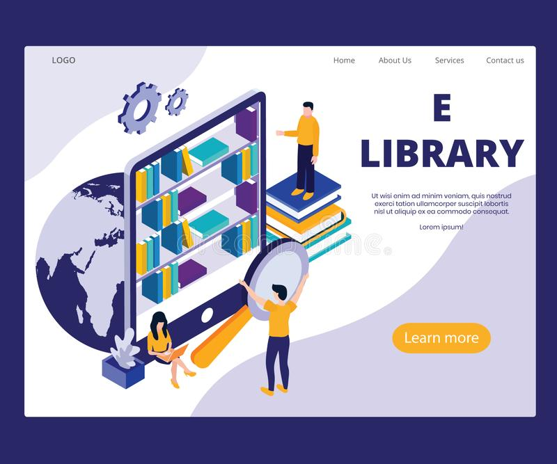 Estudantes que aprendem do conceito isométrico da arte finala da E-biblioteca em linha ilustração royalty free