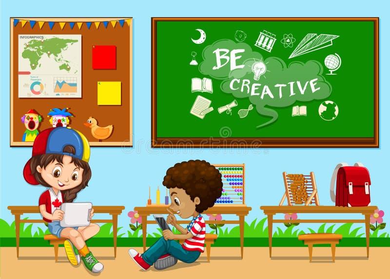 Estudantes que aprendem na sala de aula ilustração do vetor