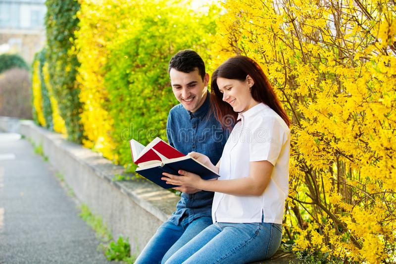 Estudantes que aprendem para o exame junto em um parque da cidade imagem de stock