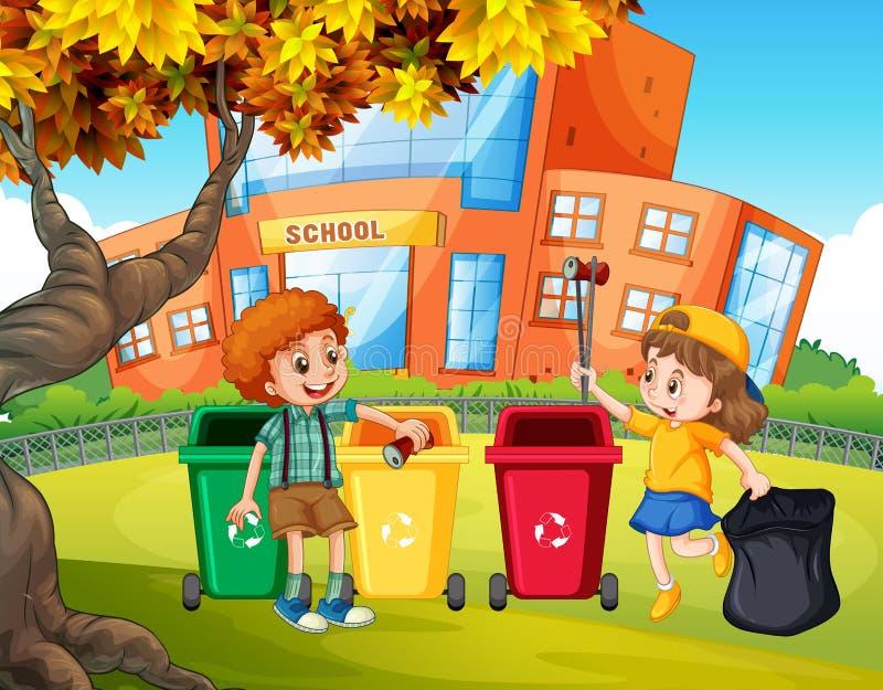 Estudantes que classificam o lixo ilustração royalty free