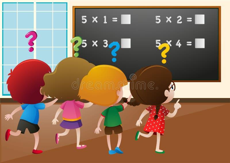 Estudantes que dão certo o problema de matemática na classe ilustração royalty free