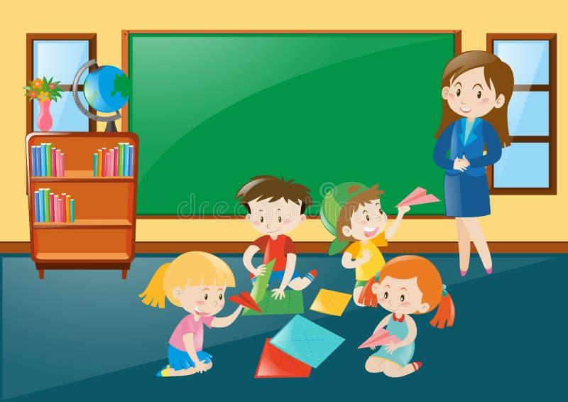 Estudantes que dobram o papercraft na sala de aula ilustração do vetor