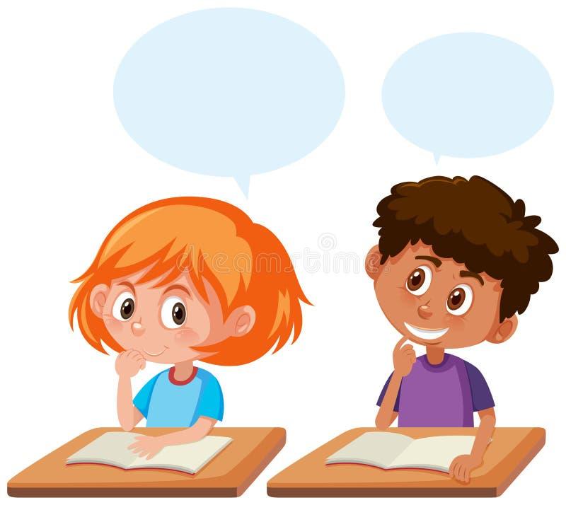 Estudantes que falam na sala de aula ilustração do vetor