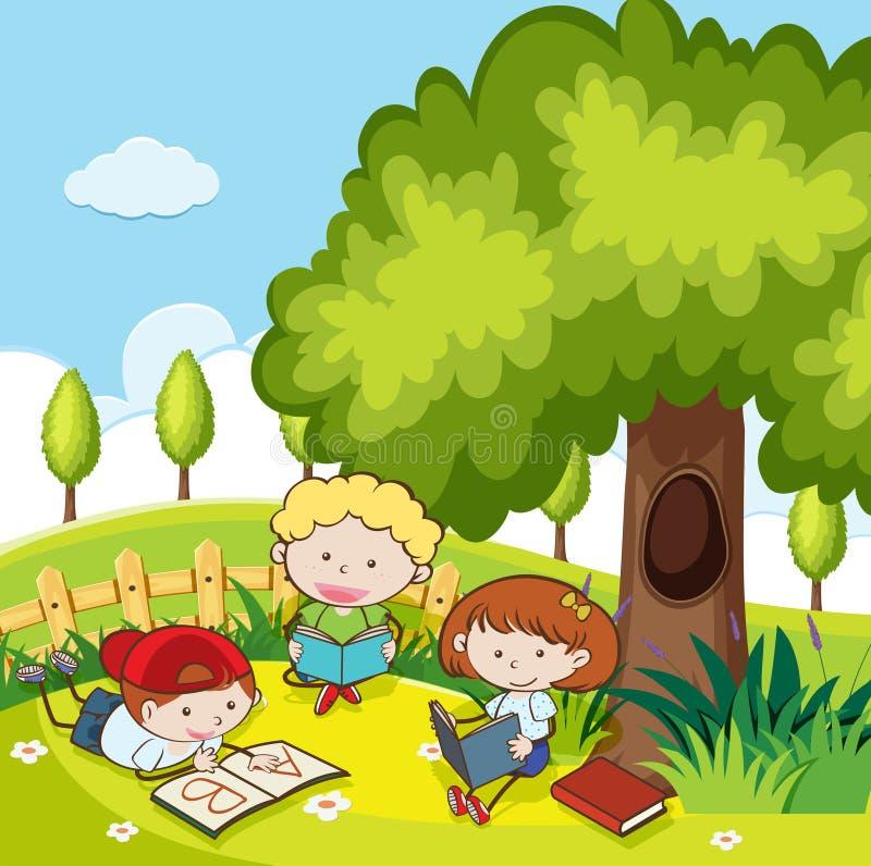 Estudantes que leem um livro no parque ilustração do vetor