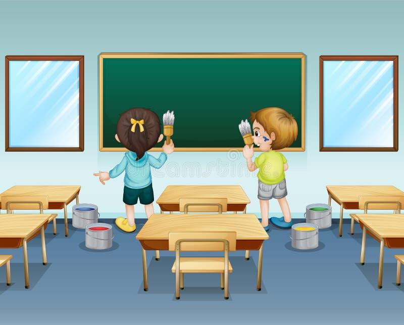 Estudantes que pintam sua sala de aula ilustração royalty free