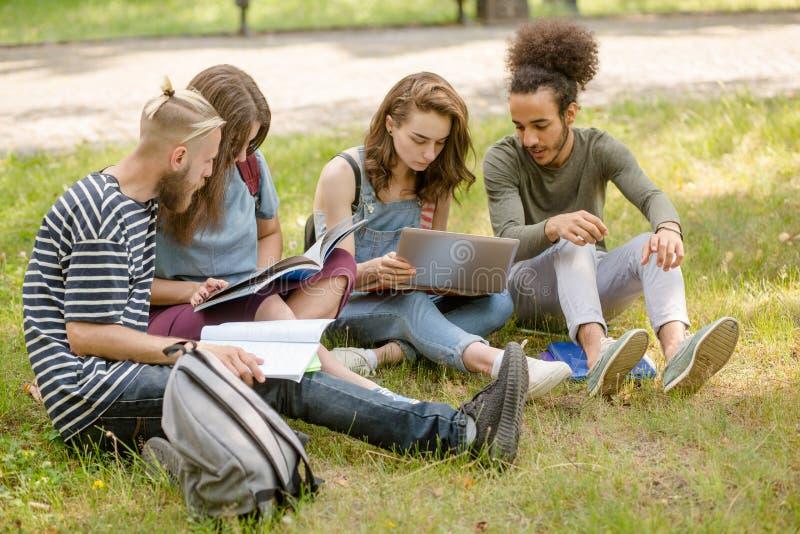 Estudantes que sentam-se no gramado que estuda e que discute casos fotografia de stock royalty free