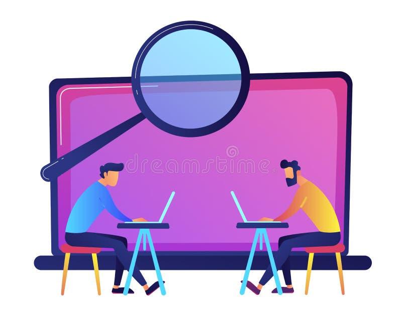 Estudantes que trabalham com portáteis e que procuram a ilustração do vetor de informação ilustração stock