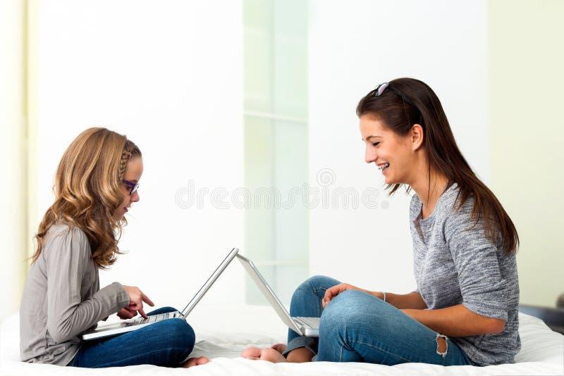 Estudantes que trabalham junto em portáteis em casa foto de stock