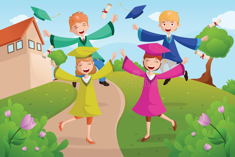 Estudantes universitário que comemoram a graduação ilustração stock