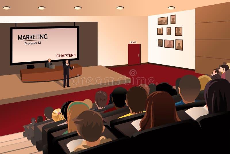 Estudantes universitário que escutam o professor no auditório ilustração do vetor