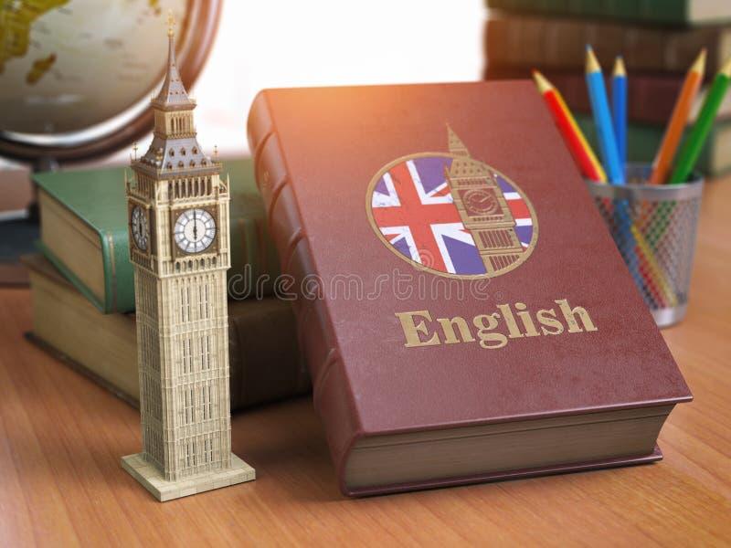 Estudiando y aprenda el concepto inglés Libro con la bandera del gran británico ilustración del vector