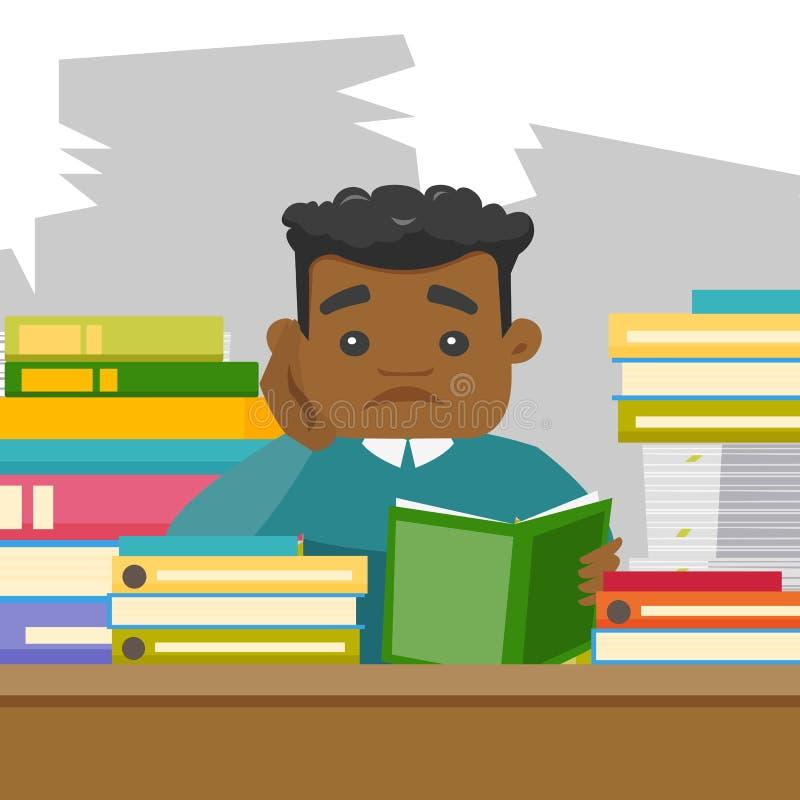 Estudiante africano que estudia difícilmente antes de los exámenes stock de ilustración