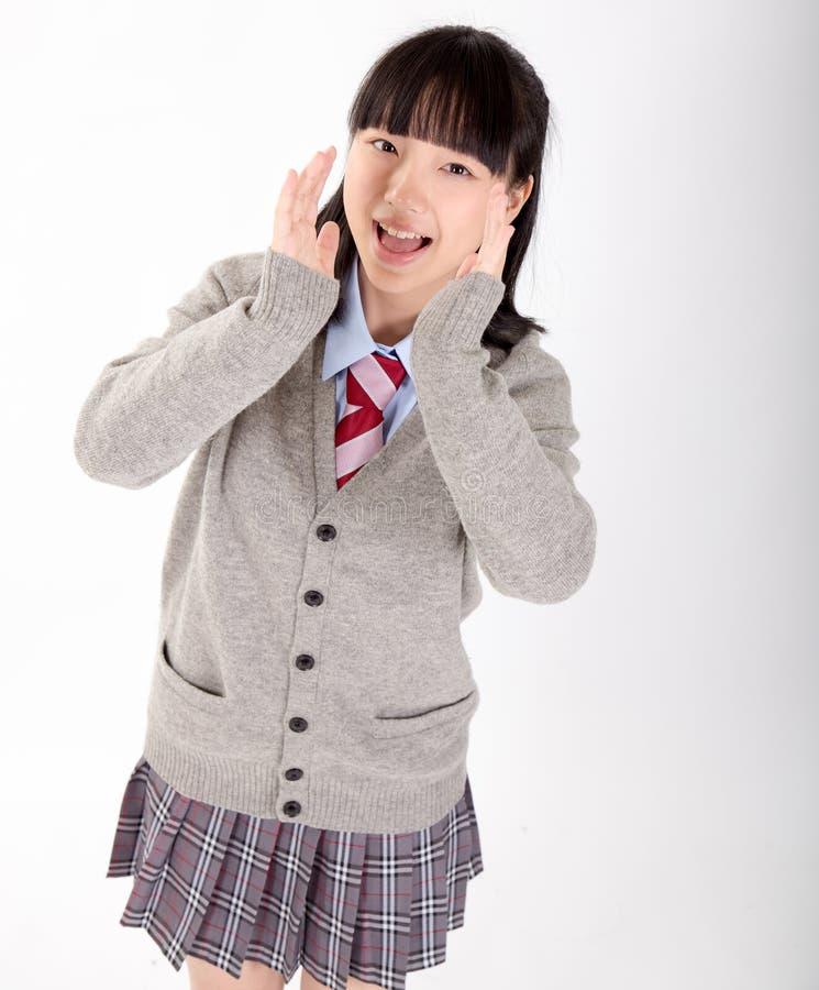 Estudiante asiática en uniforme escolar foto de archivo libre de regalías