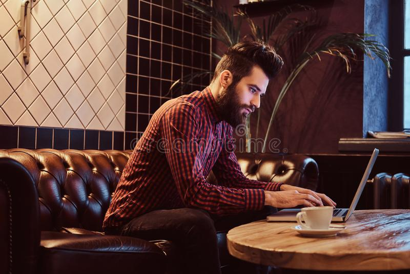 Estudiante barbudo elegante durante la rotura que se sienta en el sofá en el café y que trabaja con un ordenador portátil foto de archivo libre de regalías