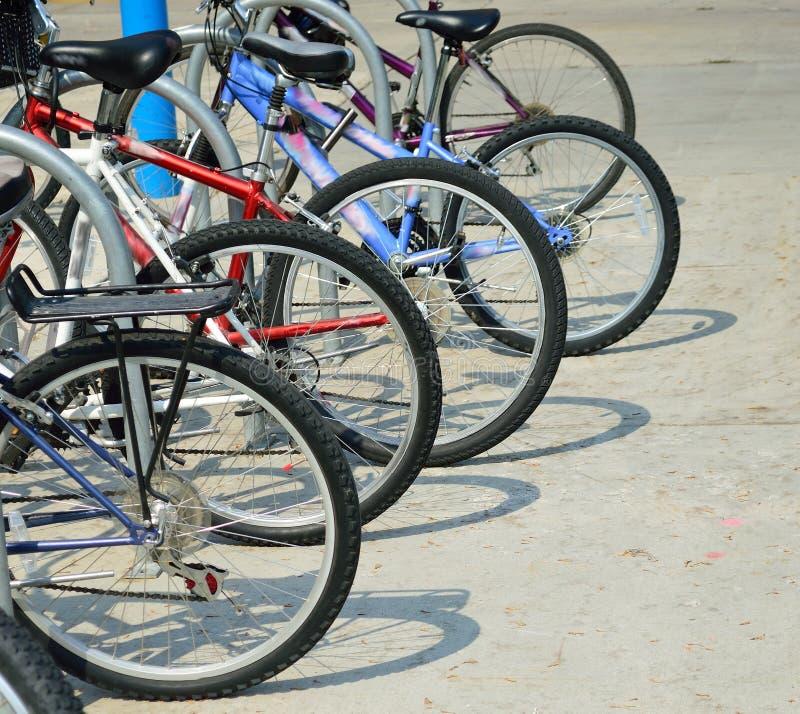 Estudiante Bicycles y sombras en campus de nuevo a escuela foto de archivo libre de regalías