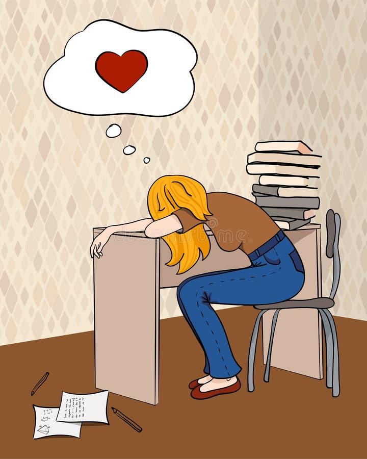 Estudiante cansado stock de ilustración