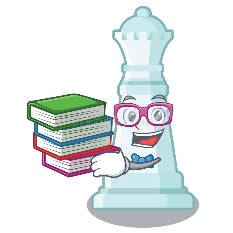 Estudiante con ajedrez de la reina del libro en una silla de la historieta ilustración del vector