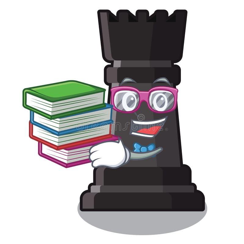 Estudiante con ajedrez del grajo del libro en una silla de la historieta stock de ilustración