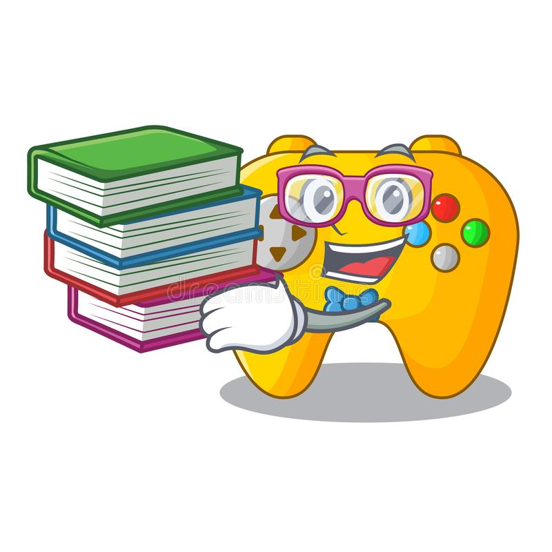 Estudiante con control retro del juego de ordenador del libro en mascota stock de ilustración