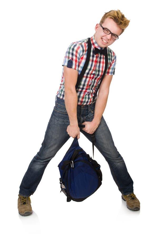Estudiante con el bolso pesado aislado en blanco imagenes de archivo