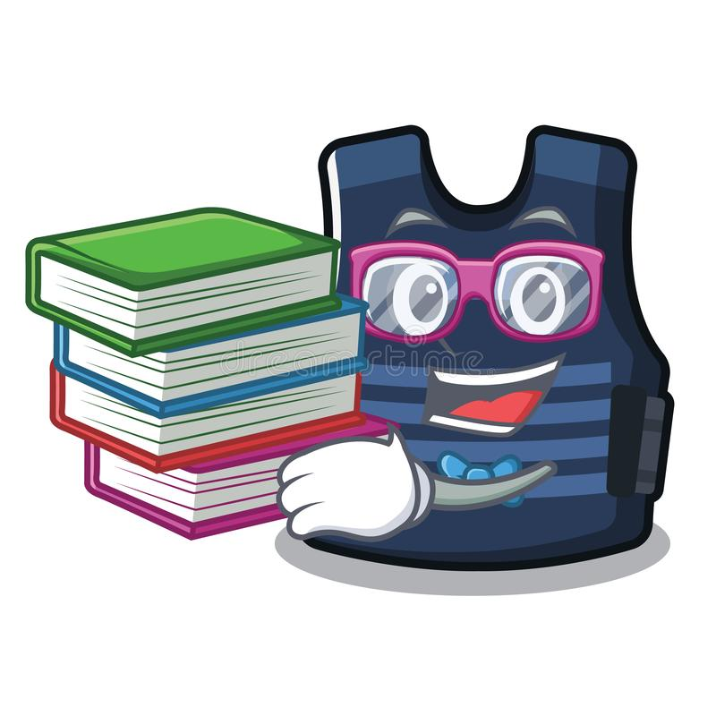 Estudiante con el chaleco del bulletprof del libro almacenado en armario de la historieta stock de ilustración