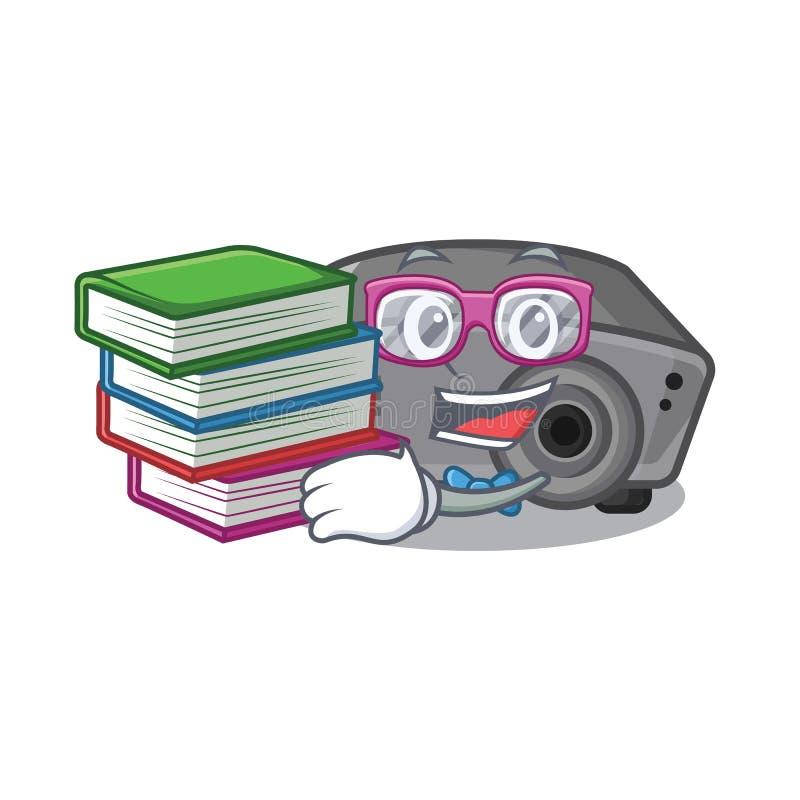 Estudiante con el juguete del proyector del libro en una silla de la historieta stock de ilustración