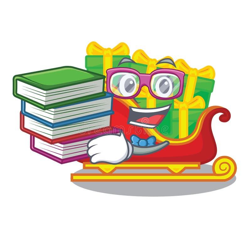 Estudiante con el trineo de Papá Noel de la Navidad del libro aislado en mascota ilustración del vector