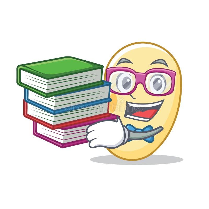 Estudiante con la historieta de la mascota de la haba de la soja del libro libre illustration