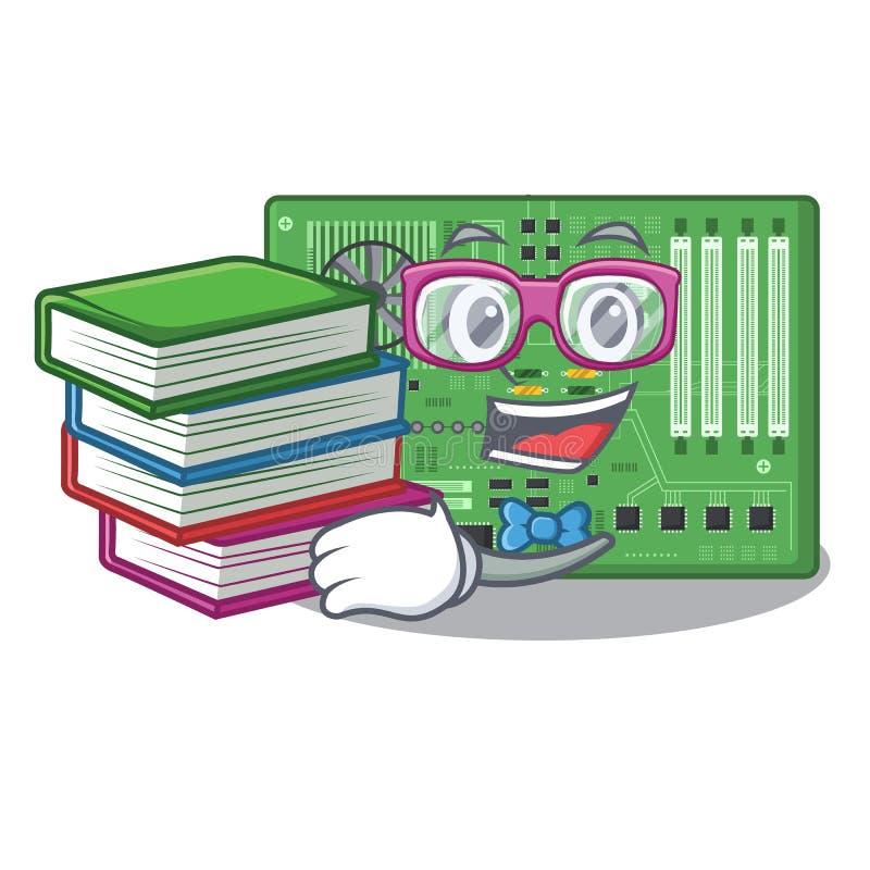 Estudiante con la placa madre del juguete del libro en un bolso de la mascota stock de ilustración
