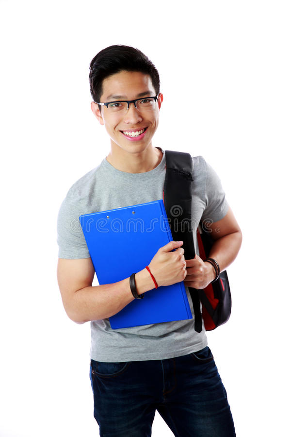 Estudiante con la situación de la mochila y del cuaderno fotografía de archivo