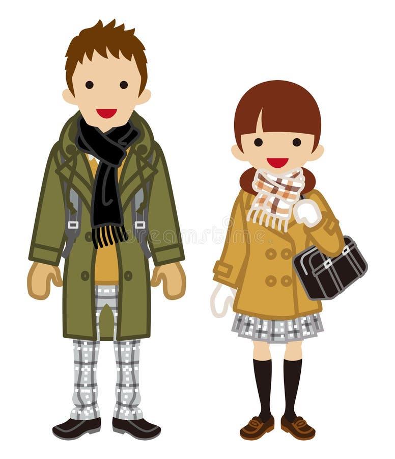 Estudiante Couple - coletas de la moda del invierno ilustración del vector