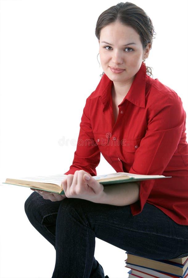 Estudiante de la belleza con el libro foto de archivo