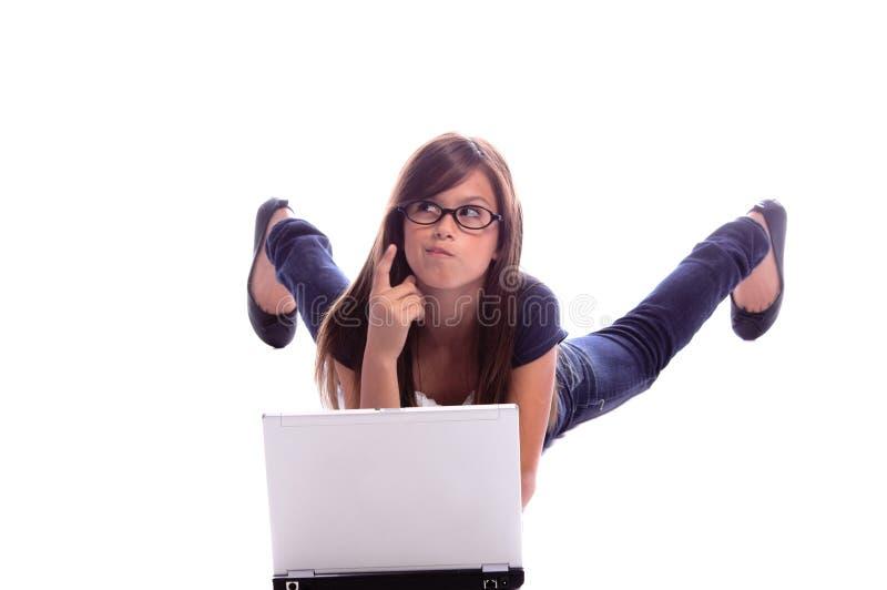 Estudiante de la computadora portátil foto de archivo libre de regalías