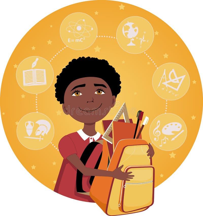 Estudiante de la escuela primaria stock de ilustración